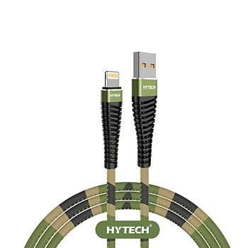 Hytech HY-X375 1.2M 3A Lightning Kamuflaj Desenli Kýlýflý Yeþil Data + Sarj Kablosu