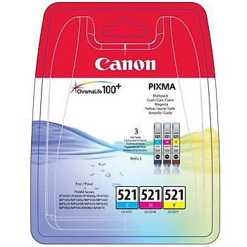 Canon CLI-521 Cyan-Magenta-Yellow Mavi-Kýrmýzý-Sarý 3'lü Multipack Mürekkep Kartuþ