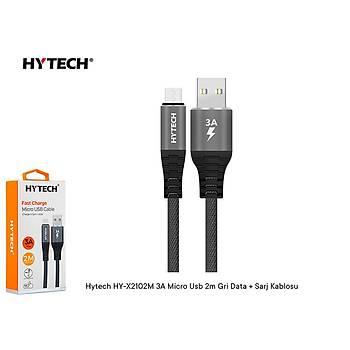 Hytech HY-X2102M 3A Micro Usb 2m Gri Data + Sarj Kablosu