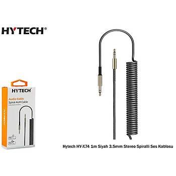 Hytech HY-X74 1m Siyah 3.5mm Stereo Spiralli Ses Kablosu