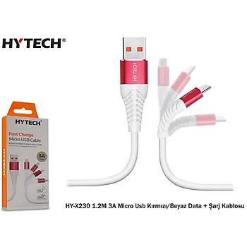 Hytech HY-X230 1.2M 3A Micro Usb Kýrmýzý-Beyaz