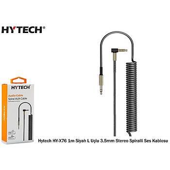 Hytech HY-X76 1m Siyah L Uçlu 3.5mm Stereo Spiralli Ses Kablosu