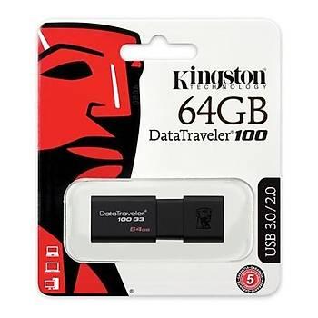 Kingston DT100G3 64 Gb USB 3.0 Siyah Plastik Kasa Flash Bellek