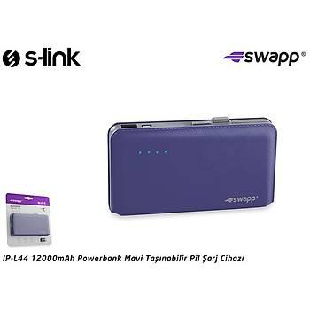S-link Swapp IP-L44 12000mAh Powerbank Mavi Taþýnabilir Pil Þarj Cihazý