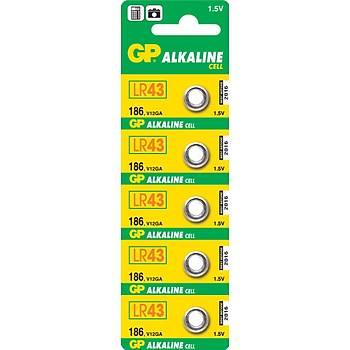 GP GP186-C5 LR43 Alkalin Düðme Pil5'li Paket