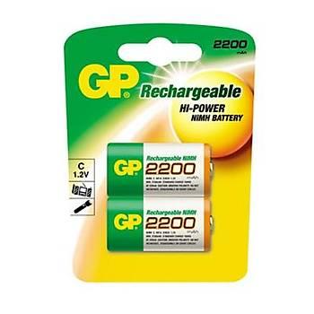 GP 2200 mAh Orta Boy Þarlý Pil 2'li Paket GP220CHEMTR-2UC2