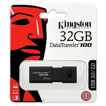 Kingston DT100G3 32 Gb USB 3.0 Siyah Plastik Kasa Flash Bellek