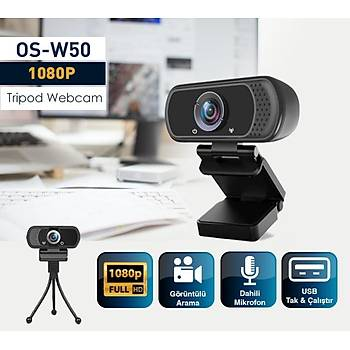 Os-W50 2Mp 1080P Full Hd Mýkrofonlu Webcam Tak Çalýþtýr Tripod Ayak Dahildir