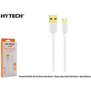 Hytech Portta HY-X240 1M 3A Micro Usb Kýlýflý Beyaz Data + Þarj Kablosu