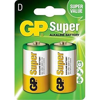 Süper Alkalin LR20 D Boy Kalýn 2li Paket Pil GP13A-2U2