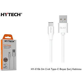 Hytech HY-X106 2m 2.4A Type-C Beyaz Þarj Kablosu