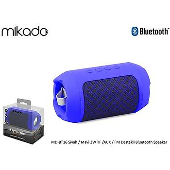 Mikado MD-BT16 Siyah-Mavi 3w Tf-Aux-Fm Destekli Bluetooth Speaker