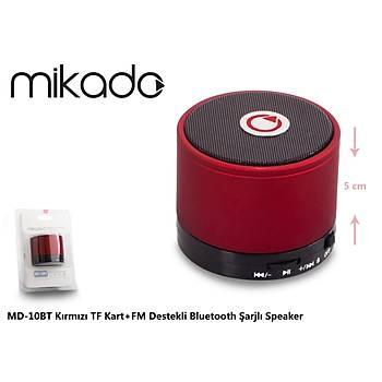 Mikado MD-10BT Kýrmýzý Micro Sd+Fm Destekli Bluetooth Spekaer