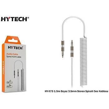 Hytech HY-X73 1.5m Beyaz 3.5mm Stereo Spiralli Ses Kablosu