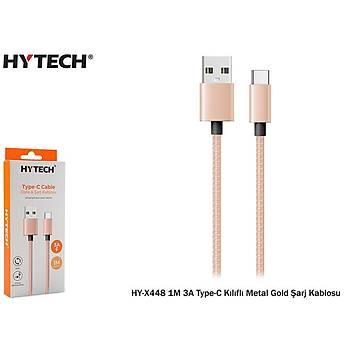 Hytech HY-X448 1M 3A Type-C Kýlýflý Metal Gold Þarj Kablosu