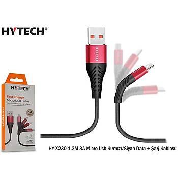Hytech HY-X230 1.2M 3A Micro Usb Kýrmýzý-Siyah