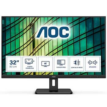 AOC 31.5 U32E2N 4K LED Monitör 4ms MM Siyah