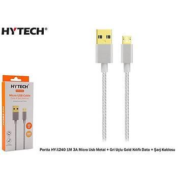 Hytech Portta HY-X241 1,5M 3A Micro Usb Kýlýflý Beyaz Data + Þarj Kablosu