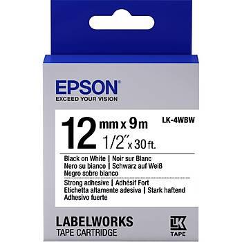 Epson LK-4WBVN  Siyah Üzeri Beyaz 12MM 7Metre Etiket