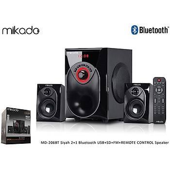 Mikado MD-206BT Siyah 2+1 Bluetooth USB+SD+FM+REMOTE CONTROL Speaker