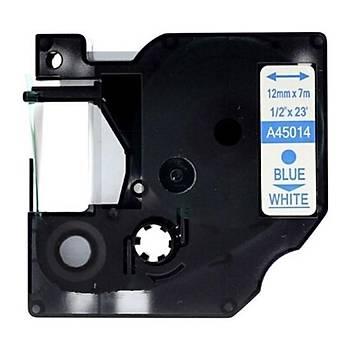 DYMO D1 Beyaz-Mavi Yedek Þerit 12mm x 7mt 45014