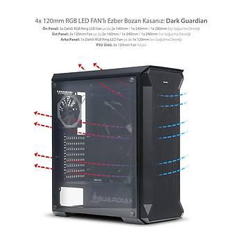 Dark GUARDIAN 4x12cm Dual RGB Fan USB3.0 T-Glass ATX Oyuncu Kasasý