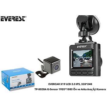 """Everest Evercar X19 Lcd 1.5"""" TFT Ekran 1080P Araç Ýçi Kamera"""