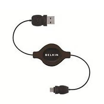 Belkin BLK-F3U156cw2.6-MOB 1.5m Makaralý Usb AM-Mi 5pin Kablosu
