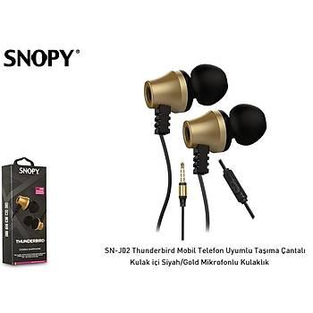 Snopy SN-J02 Siyah Gold Kulak Ýçi Kulaklýk Mikrofonlu