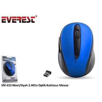 Everest SM-613 Mavi-Siyah 2.4Ghz Optik Kablosuz Mouse
