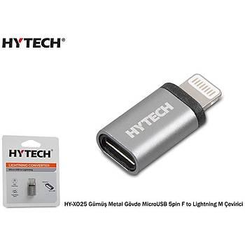 Hytech HY-XO25 Gümüþ Metal Gövde MicroUSB 5pin F to Lightning M Çevirici