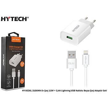 Hytech HY-XE26L 2100MA Ev Þarj 11W + 2,4A Lightning USB Kablolu Beyaz Þarj Adaptör Seti