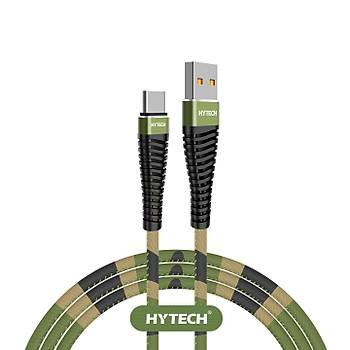 Hytech HY-X475 1.2M 3A Type-C Kamuflaj Desenli Kýlýflý Yeþil Data + Sarj Kablosu