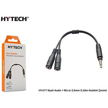 Hytech HY-X77 Siyah Audio + Mic to 3,5mm 0.15m Kul