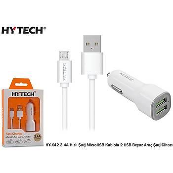 Hytech HY-X42 3.4A Hýzlý Þarj MicroUSB Kablolu 2 U