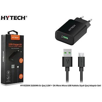 Hytech HY-XE26M Siyah 2100MA Ev Þarj 11W + 2A Micro Micro USB Kablolu Beyaz Þarj Adaptör Seti