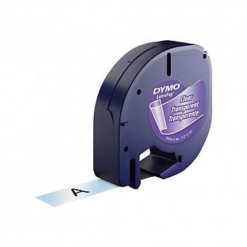 Dymo Letratag Plastik Etiket 12mmX 4 Metre Þeffaf -Siyah