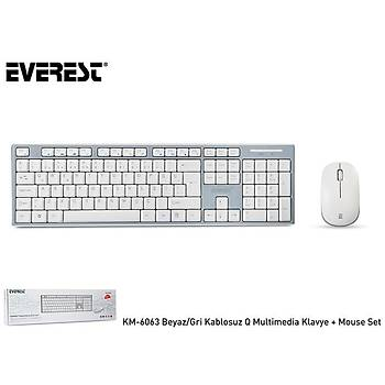 Everest KM-6063 Beyaz-Gri Kablosuz Q Multimedia Klavye + Mouse Set