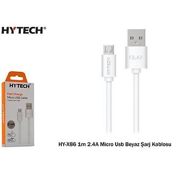 Hytech HY-X86 1m 2.4A Micro Usb Beyaz Þarj Kablosu