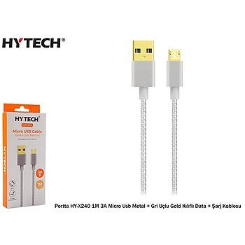 Hytech Portta HY-X240 1M 3A Micro Usb Kýlýflý Gri Data + Þarj Kablosu