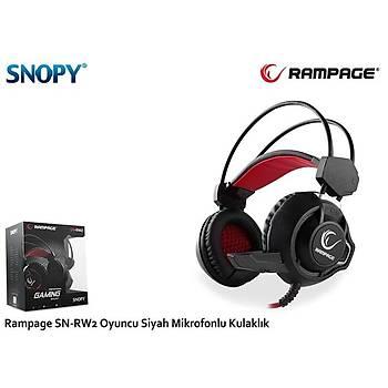 Snopy Rampage SN-RW2 Oyuncu Siyah Mikrofonlu Kulak