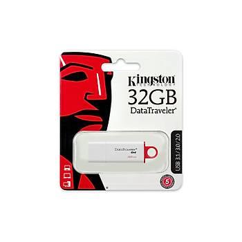 Kingston DTIG4 32 Gb USB 3.0 Beyaz-Kýrmýzý Plastik Kasa Flash Bellek
