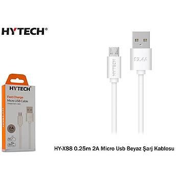 Hytech HY-X88 0.25m 2A Micro Usb Beyaz Þarj Kablos