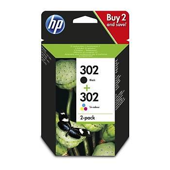 HP 302 Black-Colour Siyah-Renkli Multipack Kartuþ X4D37AE