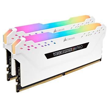 Corsair Vengeance RGB PRO 16GB(2x8GB) 3200Mhz DDR4 CMW16GX4M2C3200C16W Bellek Beyaz