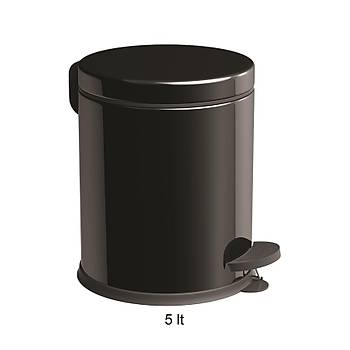 Siyah 5 Lt Çöp Kovasý Seti Tuvalet Kaðýtlýk ve Yuvarlak Havluluk