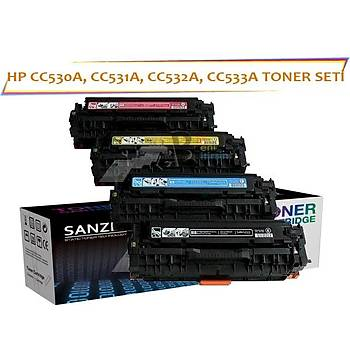 Hp Cc530A 531A 532A 533A Muadil Toner Seti 4lü Color LaserJet CM2320 CP2025