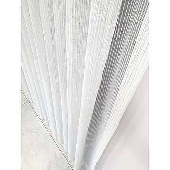 BBB Düz Çizgili Örme Tül Perde Beyaz ET3016