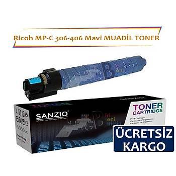 Ricoh MP C 306 406 Mavi Muadil Toner 9500 sayfalýk
