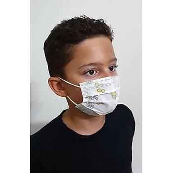 Desenli 3 Katlý Kalýn Kumaþlý Ultrasonik Koruyucu Çocuk Maskesi